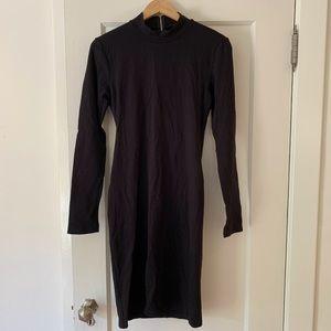 Long Sleeve Mock Neck Midi Dress